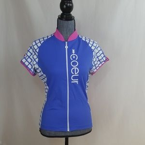 Coeur cycling top, zip front,  sz Small